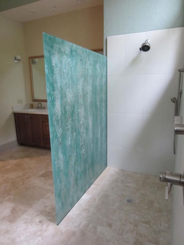 Glass showers fused glass shower wall in hanging for What to hang on bathroom walls