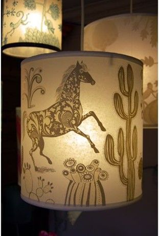 Lampshade with a horse and cacti design for the home pinterest lampshade with a horse and cacti design aloadofball Image collections
