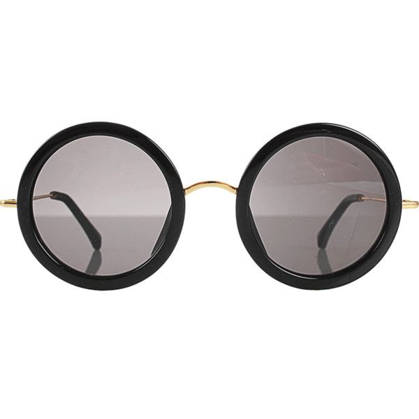 THE ROW Leather and Gold Stem Circle Sunglasses found on Polyvore