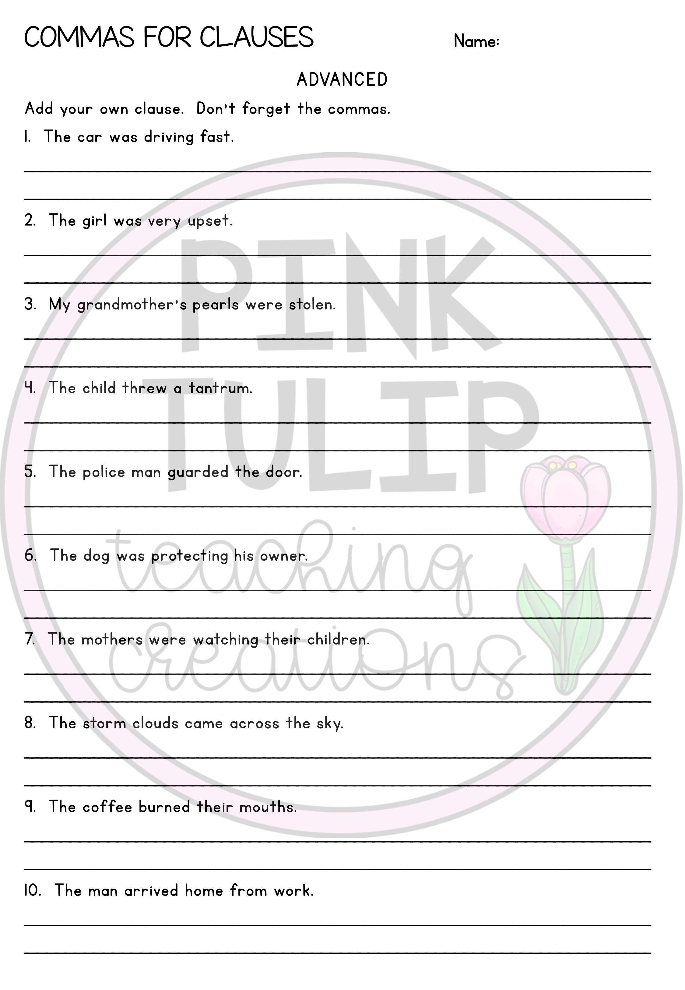 Commas For Clauses Worksheet Grammar Worksheets Grammar Spelling And Grammar