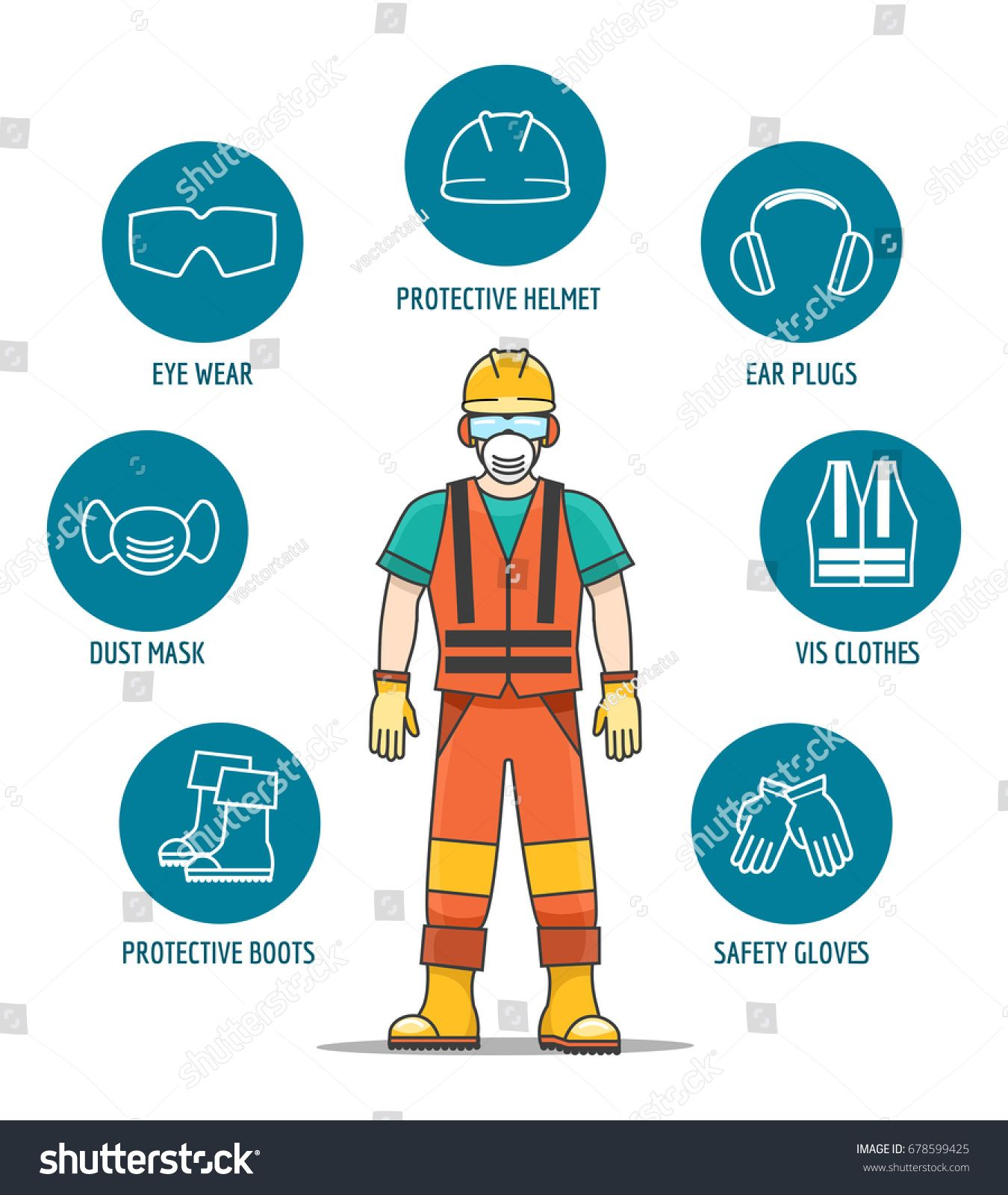 Protective and Safety Equipment or ppe vector illustration