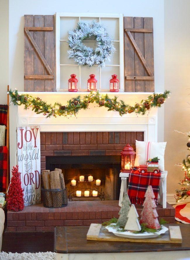 Farmhouse Christmas mantel | Christmas mantel decorations ...
