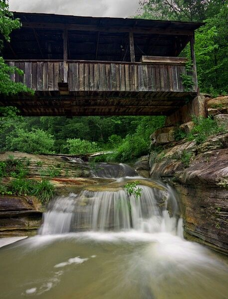 Covered Bridge And Waterfall Newton County Ar Old Bridges Covered Bridges Waterfall