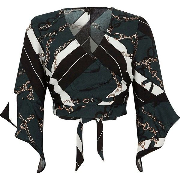 8a25a00f7c4def River Island Green scarf chain print cropped wrap blouse (240 RON) ❤ liked  on Polyvore featuring tops, blouses, crop tops / bralets, green, women, ...
