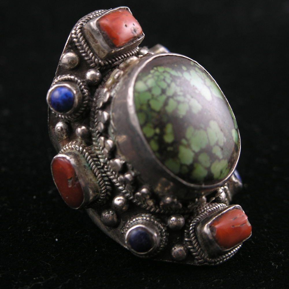 4729b146a Large Vintage Antique Tibetan Coral Turquoise Lapis Sterling Silver Ring  $200 sz11