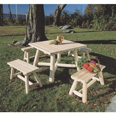 Rustic Natural Cedar Furniture Company Cedar Log Square Table