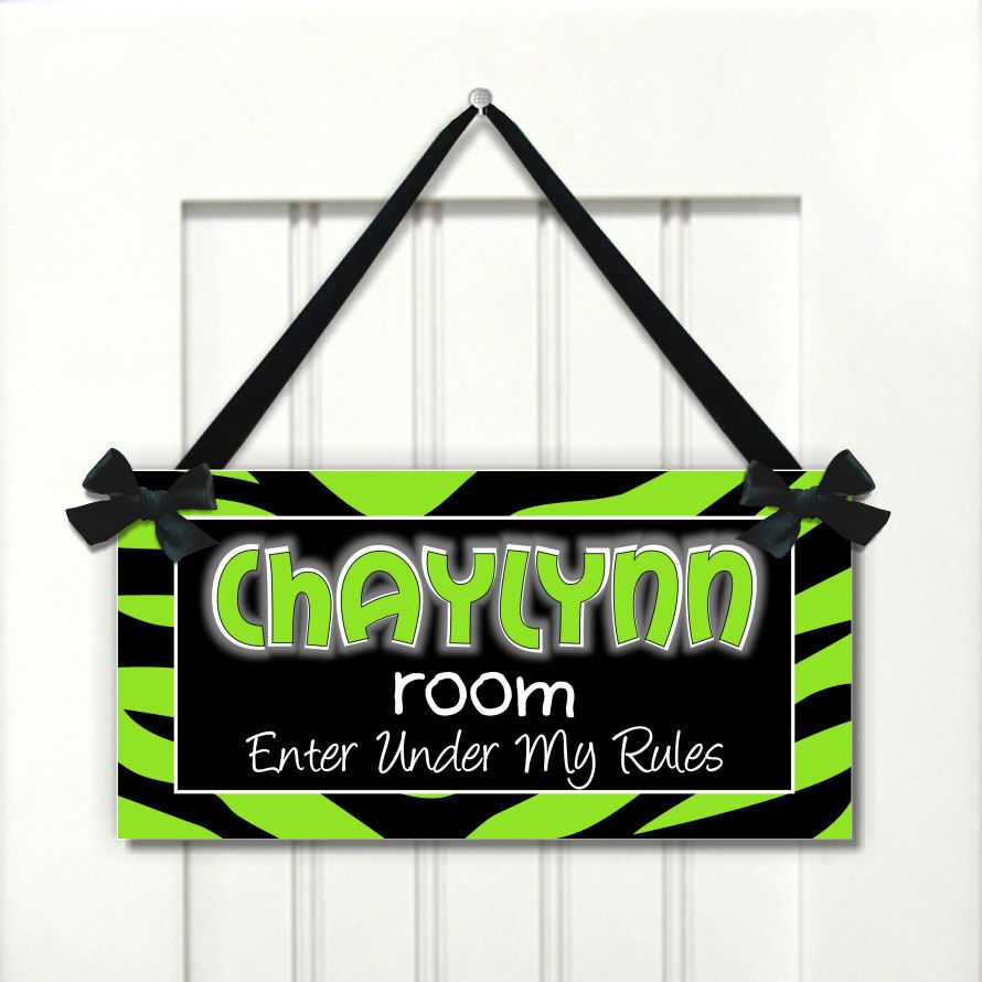 Black And Lime Green Zebra Print Teens Room Door SIGN By