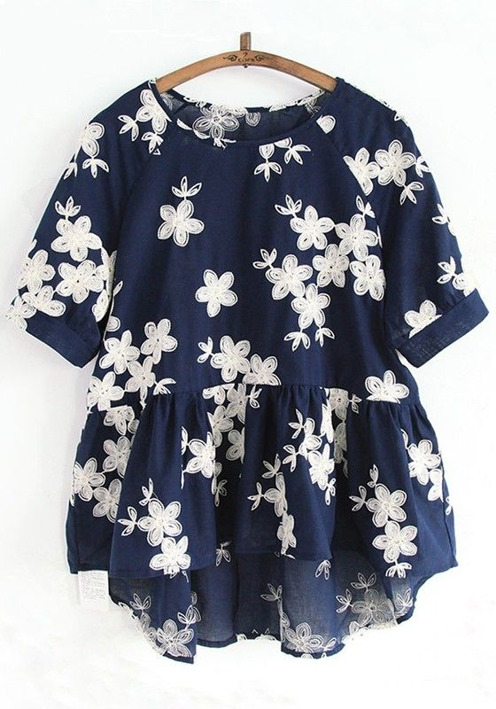 983dc94fb9ef6 Navy Blue Flowers Embroidery Short Sleeve Blouse