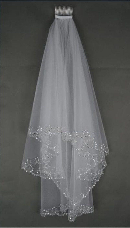 white ivory layers beaded edge sequins short wedding