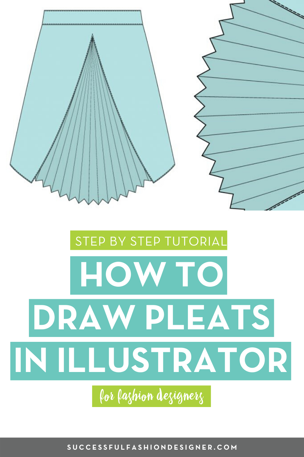 How To Draw Pleats In Illustrator Courses Free Tutorials On Adobe Illustrator Tech Packs Freelancing For Fashion Designers Fashion Design Portfolio Fashion Design Fashion Illustration Portfolio