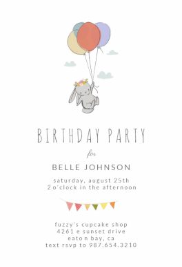 Bunny Balloon Printable Invitation Template Customize Add Text And Photos Print Download Send Online Or Order Printed