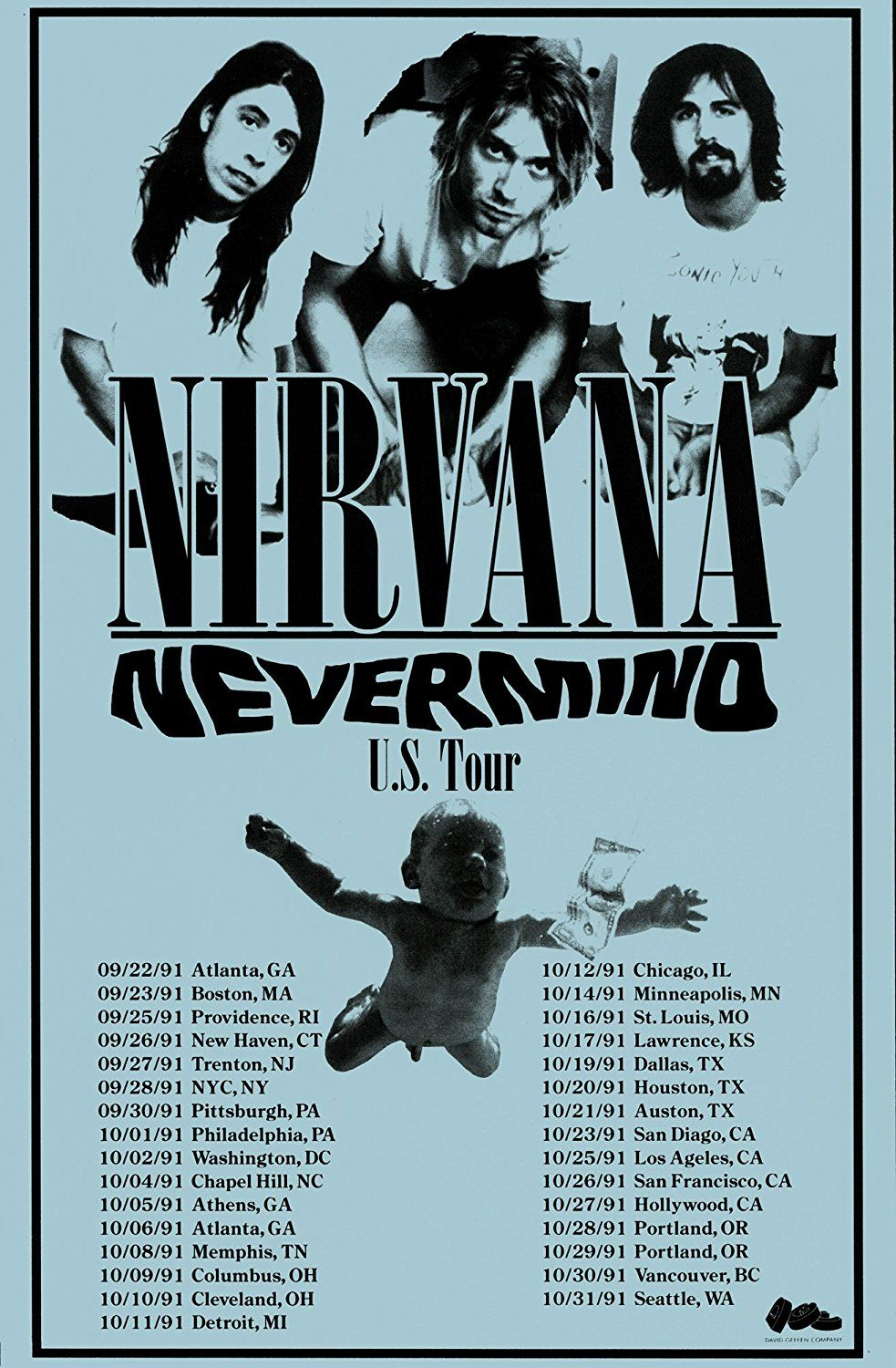 Nirvana Nevermind Tour 1991 Retro Art Print — Poster  37234af82
