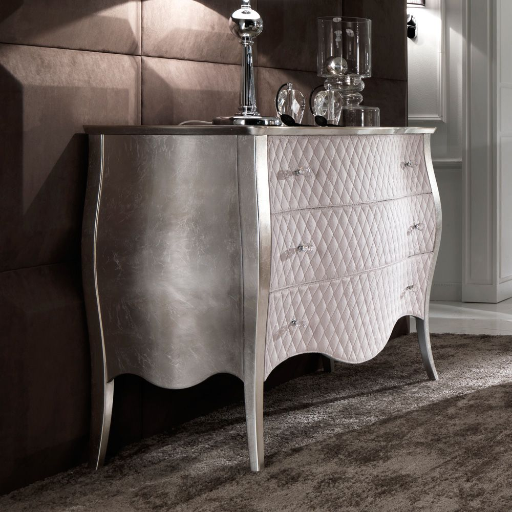 Quilted Leather Silver Leaf Chest Of Drawers