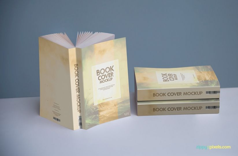 A mockup containing 3 paperback books, one in a standing upright position and 2 stacked on top of each other | 14 Softcover Book Mockup PSDs for Paperbacks & Ebooks by ZippyPixels #mockup #mockups #mocks #PSD #book #ebook #photorealistic #coverdesign #customizable #book design #book mockup #ebook mockup #paperback #softcover