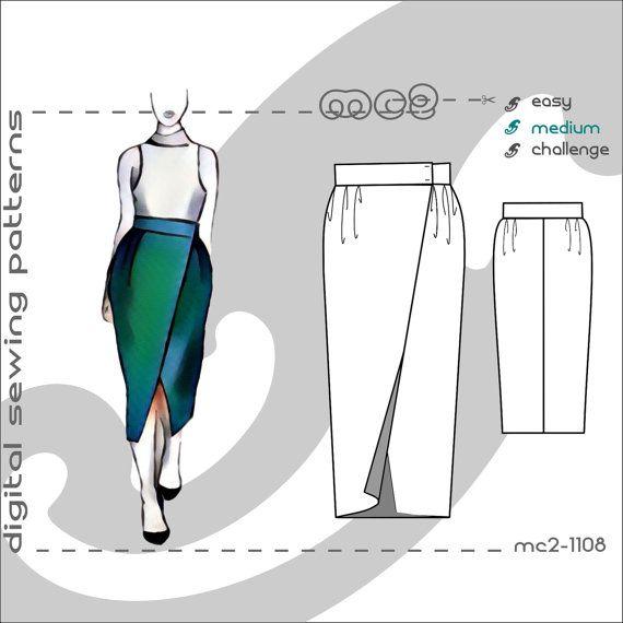 Tulip Wrap Midi Skirt (sizes: uk 6-16/ usa 2-12) Digital PDF Sewing Pattern for Women >mc2patterns< mc2-1108