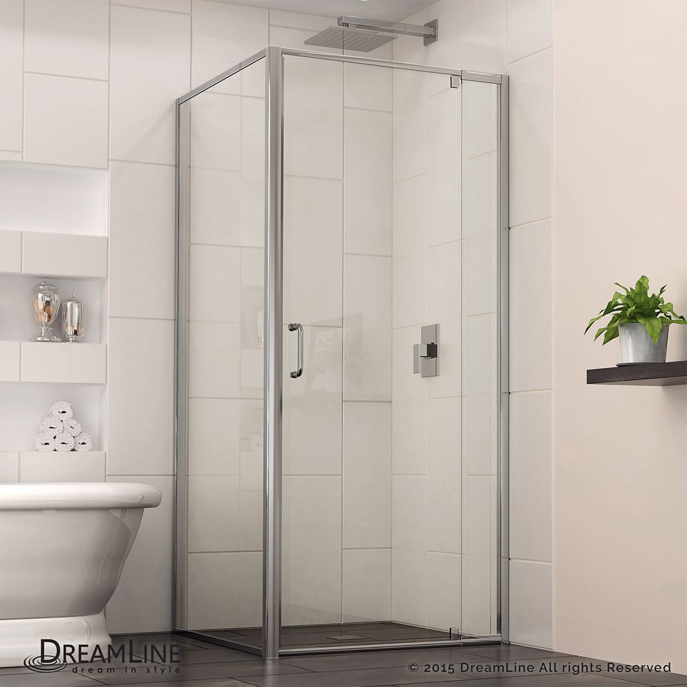 Flex 28 7 16 Inch To 32 7 16 Inch X 30 1 2 Inch X 72 Inch Framed Pivot Shower Corner Shower Kits Framed Shower Enclosures Frameless Shower Enclosures