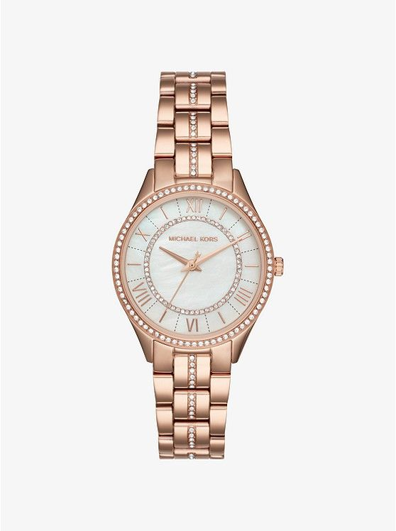 Michael Kors Mini Lauryn Pave Rose Gold Tone Watch