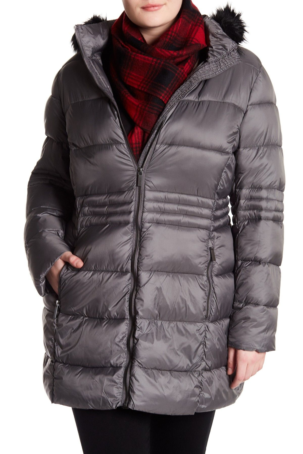 French Connection Full Zip Faux Fur Trim Hooded Puffer Jacket Plus Size Jackets Puffer Jackets Fur Trim [ 1800 x 1200 Pixel ]