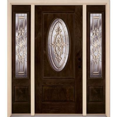 Feather River Doors 59 5 In X81 625in Silverdale Zinc 3 4 Oval Lt Stained Chestnut Mahogany Lt Hd Fiberglass Prehung Front Door W Sidelites 712790 313 Fiberglass Entry Doors Double Door Design Front Door