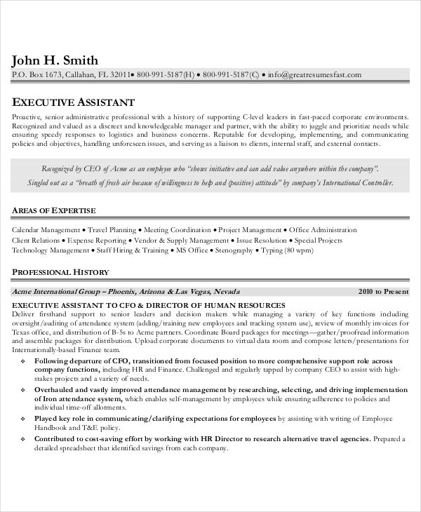 executive administrative assistant resume free word pdf sample