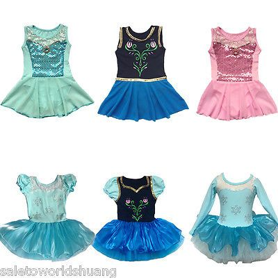 b3238e3a7 Girls Princess Ballet Tutu Party Dance Dress Frozen Elsa 2-8Y Kids ...