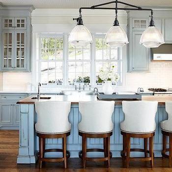 Distressed Blue Kitchen Cabinets Cottage
