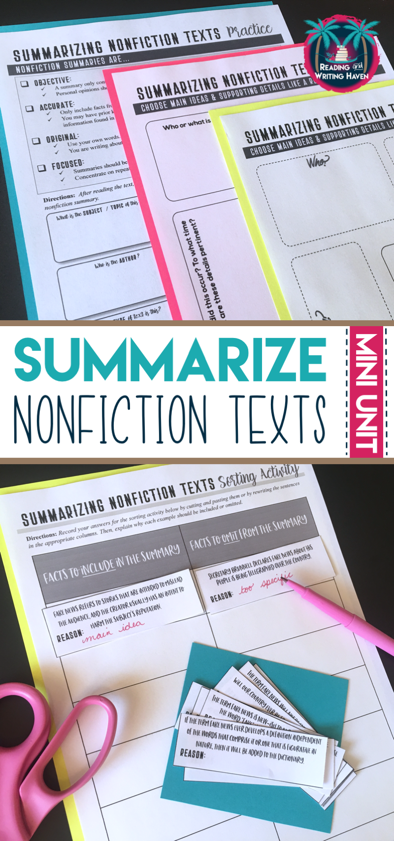Teach students to read nonfiction texts carefully and to write effective summaries. This engaging and scaffolded mini unit from Reading and Writing Haven will help students to summarize non-narrative nonfiction and informational texts. #informationaltext #highschoolenglish