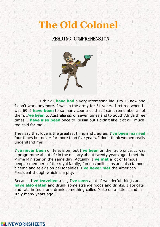 Present Perfect Reading Comprehension Interactive Worksheet Ingilizce Dilbilgisi Dilbilgisi Egitim