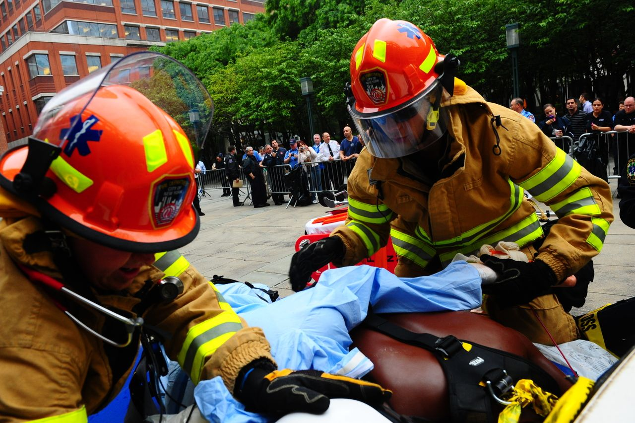 FDNY EMS members participate in a competition outside