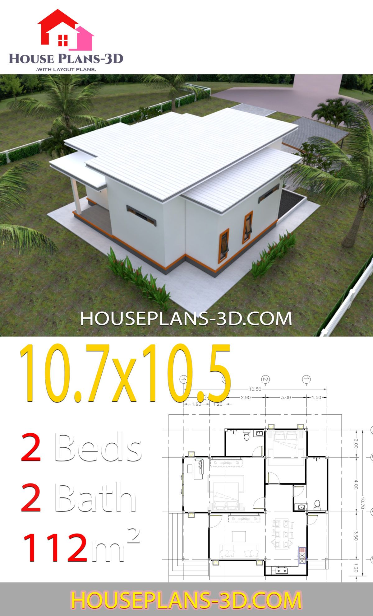 House Plans 10 7x10 5 With 2 Bedrooms Flat Roof House Plans 3d House Plans Flat Roof Design Flat Roof House