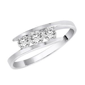 14K White Gold 3 Stone Channel Set Round Diamond Ring, $349.00 [81% savings]