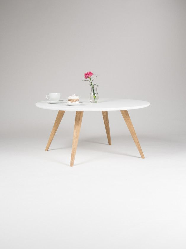 Okrągły Biały Skandynawski Stolik Kawowy ø90 Mowoodwork