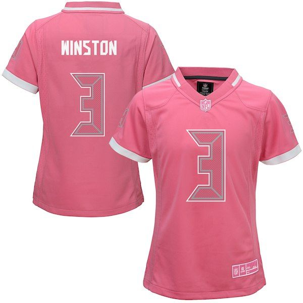 43c0f33a Jameis Winston Tampa Bay Buccaneers Girls Youth Bubble Gum Jersey - Pink # TampaBayBuccaneers