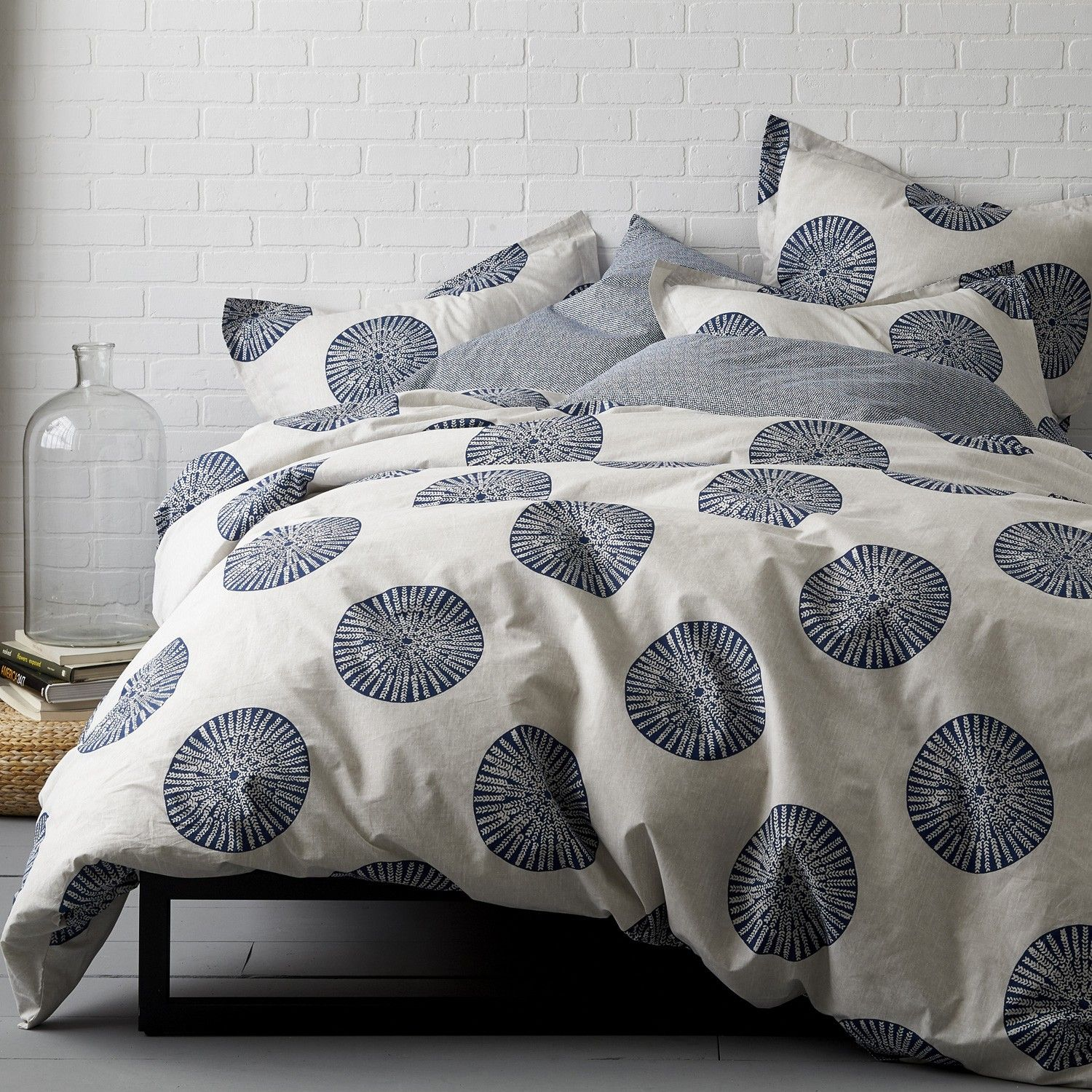 Artistic Duvet Cover And Sham With Sundial Motif On A Textural  Stone Colored Ground. Woven Of 100% Certified Organic Cotton. 200 Thread  Count.