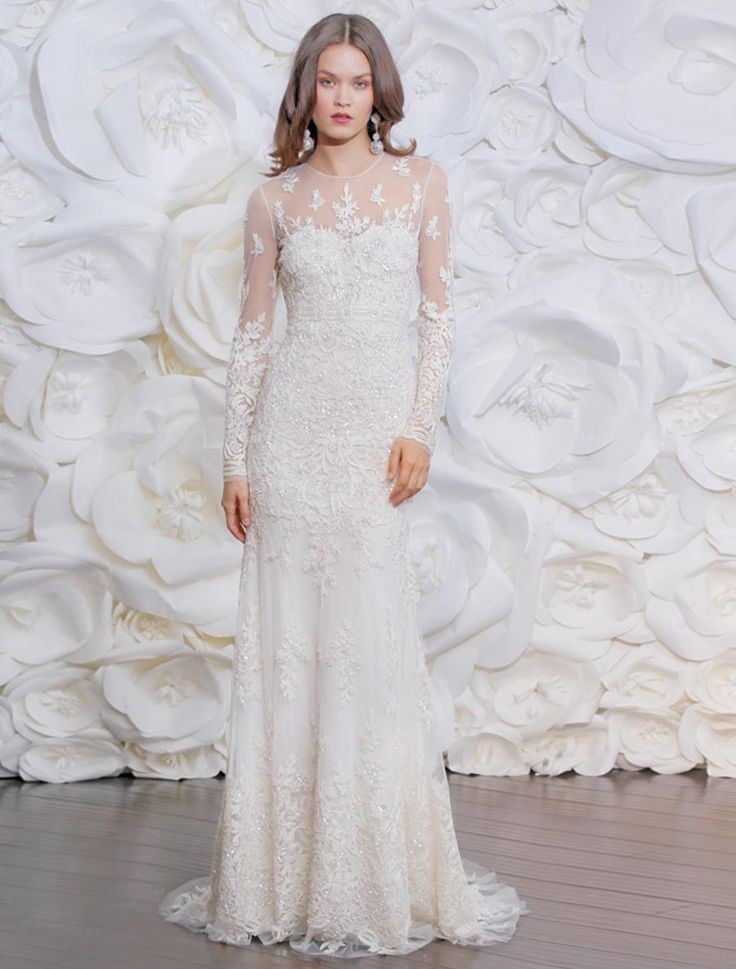 Sheath Wedding Dress : This 100% Authentic Naeem Khan Marbella FB156B is truly a work of art! The gown