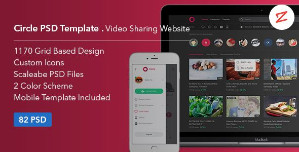 Circle Video Sharing Website PSD Template Psd Templates Template - Photo sharing website template