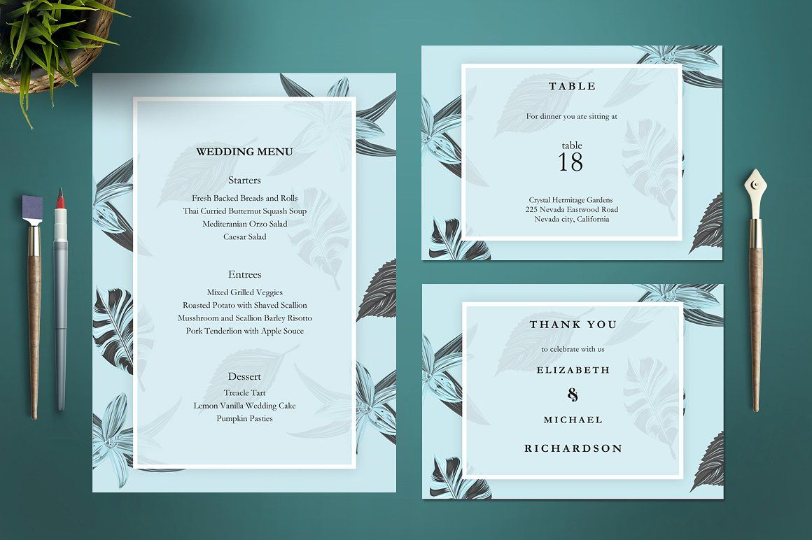 Elegant Leaves Wedding Invitation Dpi Reception Rsvp Table