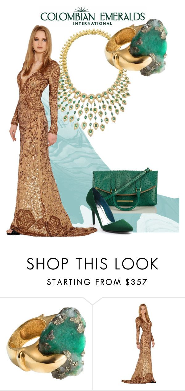 """Gold And Emerald"" by ul-inn ❤ liked on Polyvore featuring NRegnier, Emilio Pucci and Brahmin"