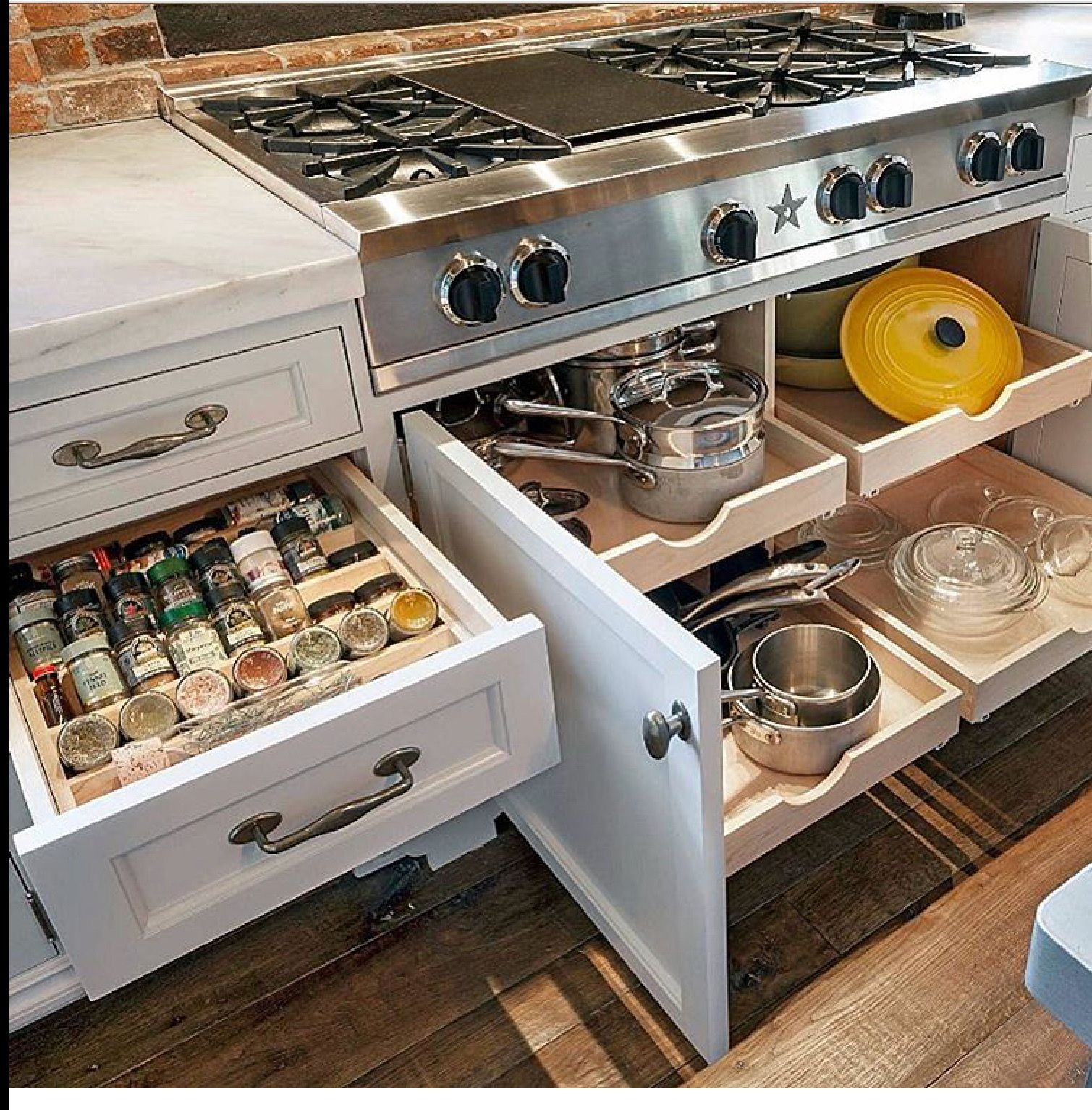 Love The Storage Space Under The Stove If We Have Ovens On The Wall Elsewhere Modern Kitchen Home Kitchens Kitchen Drawers