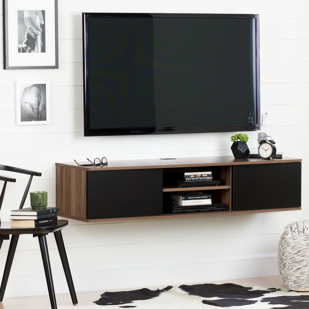 Wall Mounted Tv Stand 56 With Sliding Door Wood Media Console Floating Table Southshorefurniture Wallm Wood Media Console Wall Mount Tv Stand Floating Table
