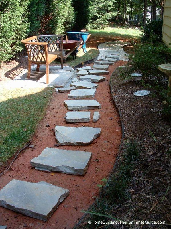 diy stepping stone walkway ideas   tips to build stone walkways yourself