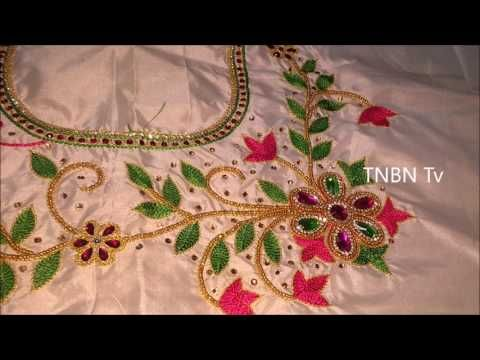 Simple Maggam Work Blouse Designs Hand Embroidery Stitches Flowers