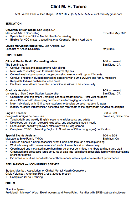 Mental Health Counselor Resume http//exampleresumecv