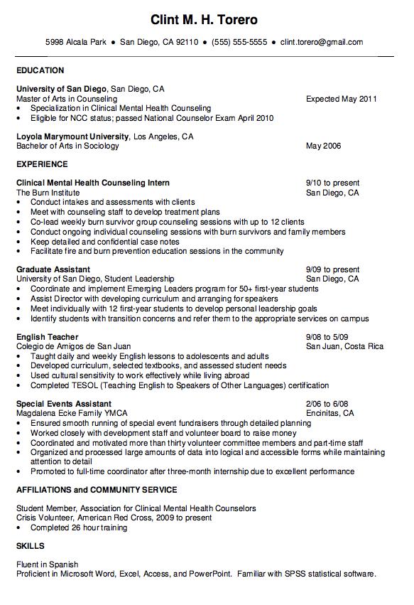 mental health counselor resume http exampleresumecv org mental