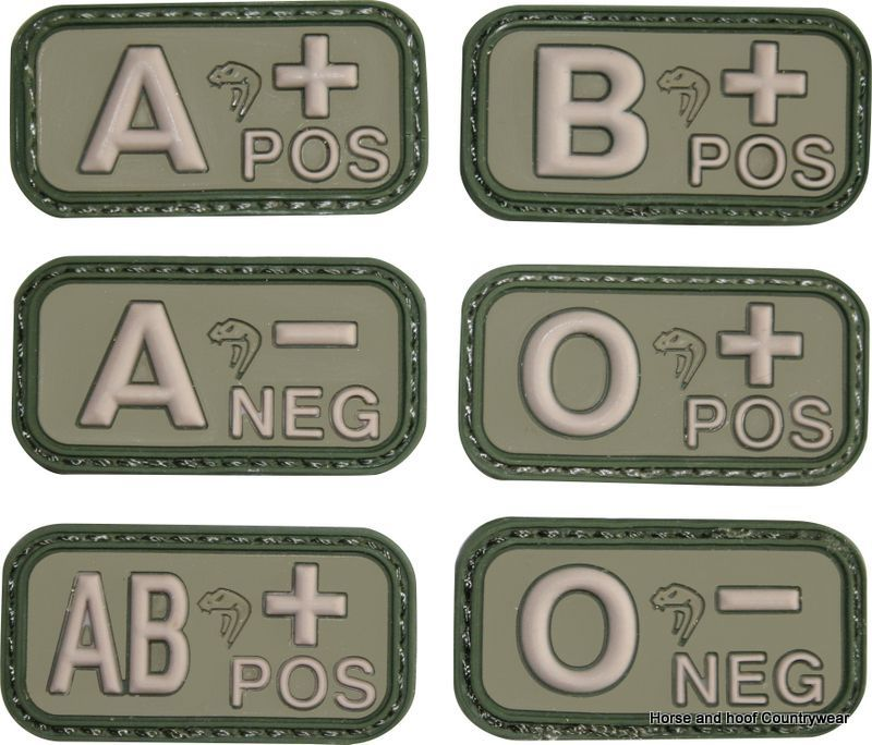 Viper Blood Group Patches - Green Rubber patches with Velcro backing 50 x  25mm 5d4a374b3dc