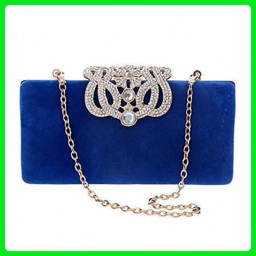 Afibi Rhinestones Crown Velvet Clutch Purse Women Clutch Evening Bags (Blue) - Evening bags (*Amazon Partner-Link)