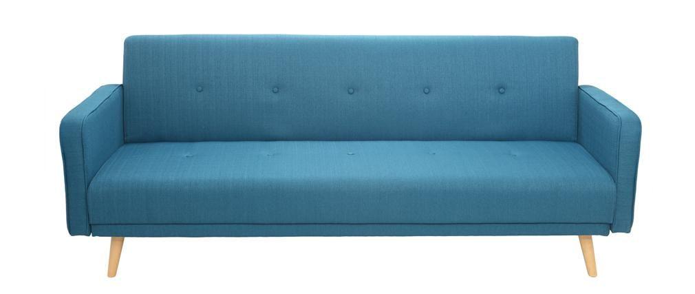 Canapé Convertible 3 Places Design Scandinave Bleu Ulla | Home