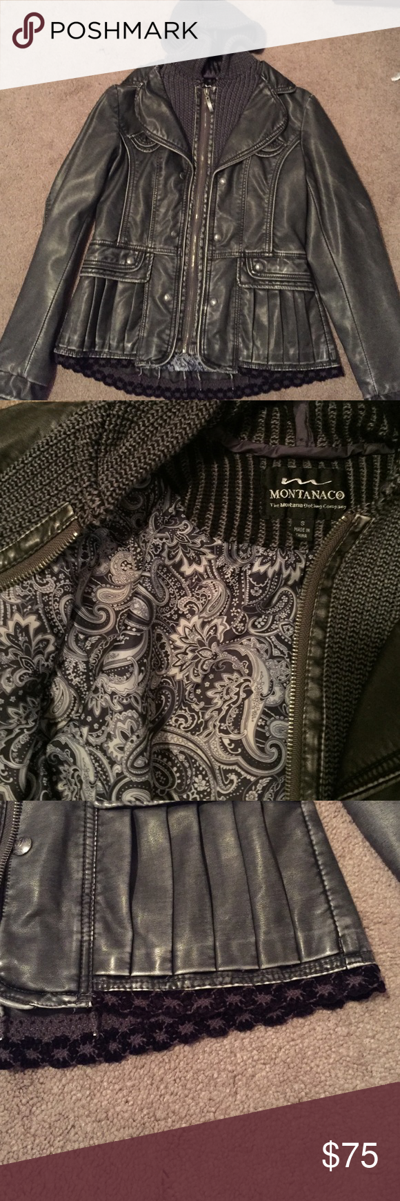 Montanaco leather jacket (small) Montana clothing company, nice leather jacket only worn twice. I love it but I never wear it. Extremely cute especially if you are going out and about, or to a nice place. :) no trades. Willing to negotiate just make an offer Jackets & Coats