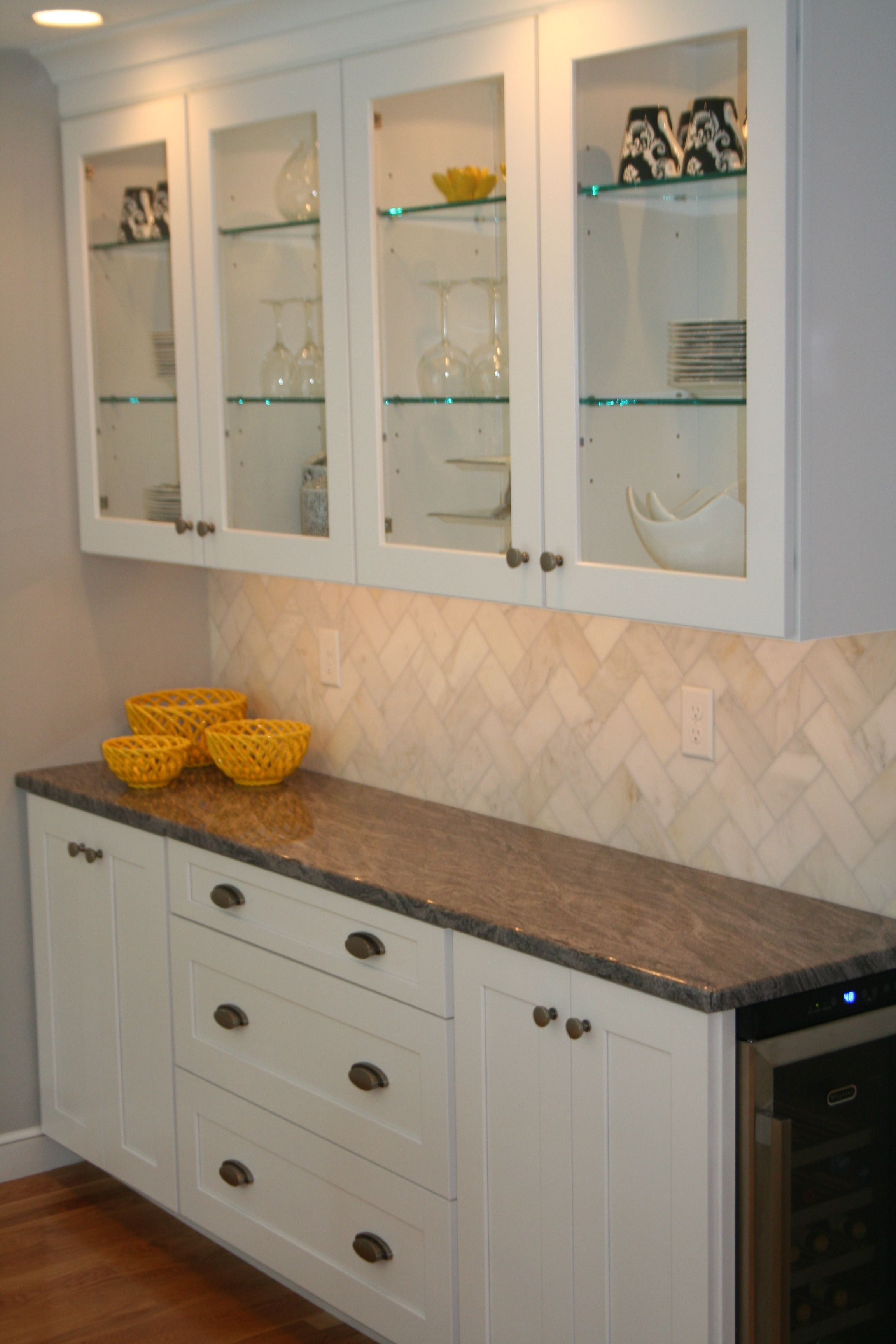 Delightful Fisher Cabinets #29 - White Kitchen Cabinet, Buffet Cabinetry, Granite Countertop In King Fisher  Blue,Elkay Single