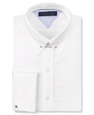 29d92cd7f99 Tommy Hilfiger White French Cuff Dress Shirt with Collar Bar | Style ...